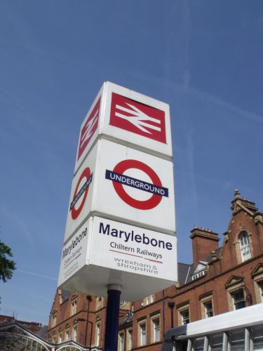 The marylebone tube station sign.