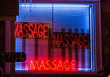 An old style massage parlour sign